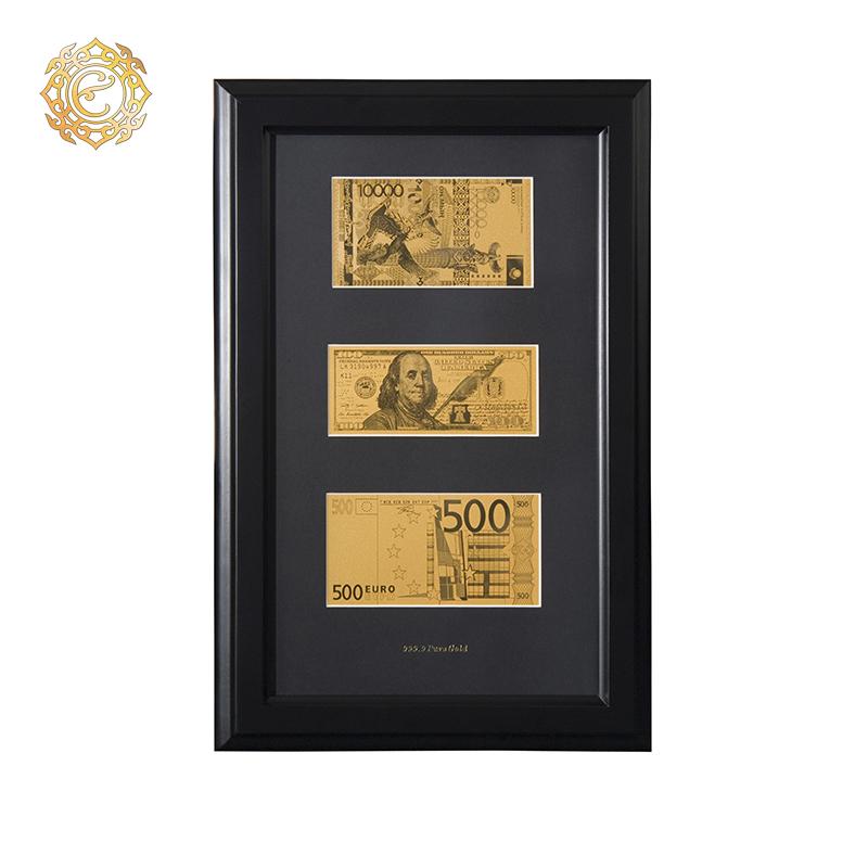 """Банкноты """"5 000 тенге, 100 долларов США, 500 евро"""" в рамке"""